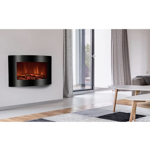 Recessed Electric Fireplace With Remote Control - Black