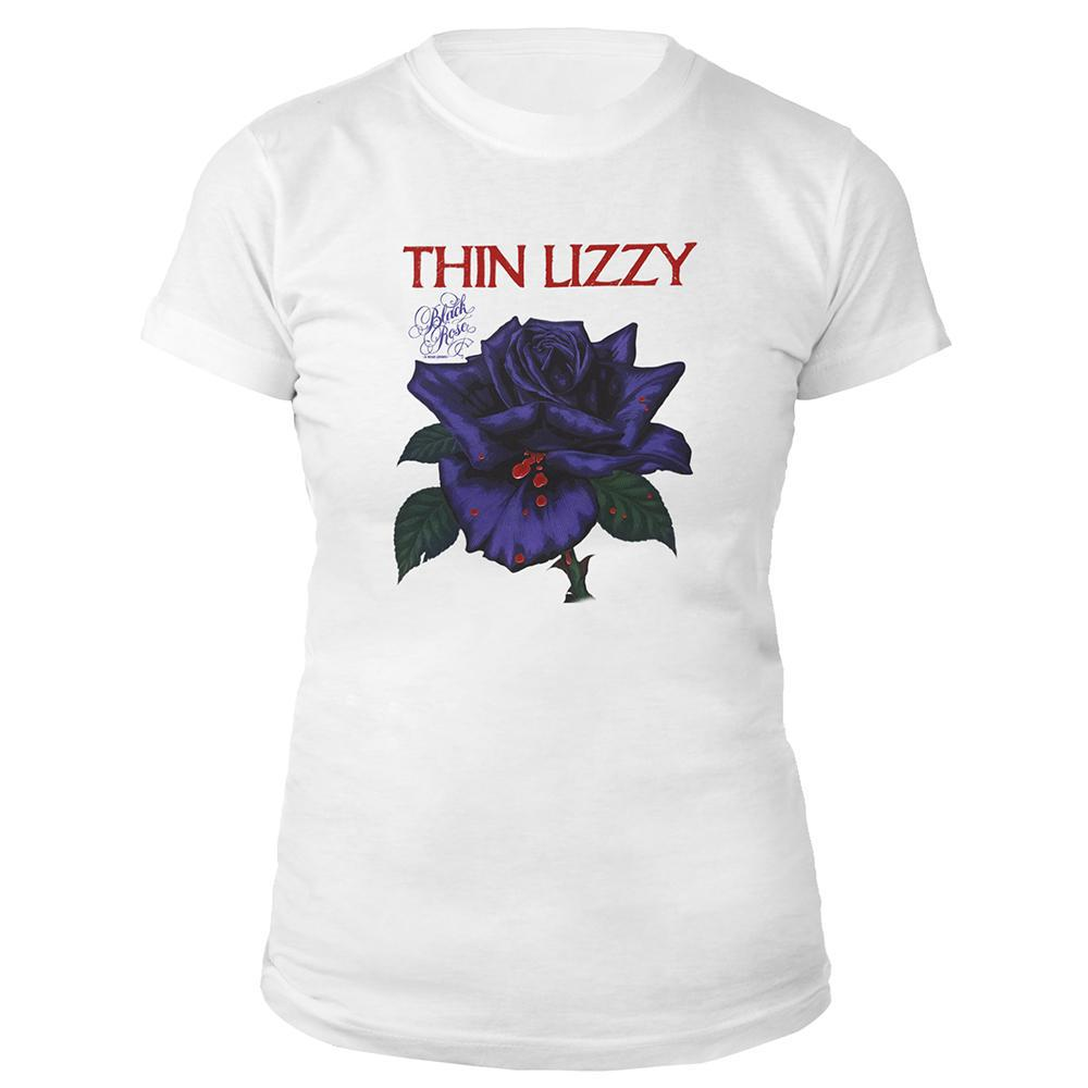 Black Rose White Ladies T-shirt-Thin Lizzy