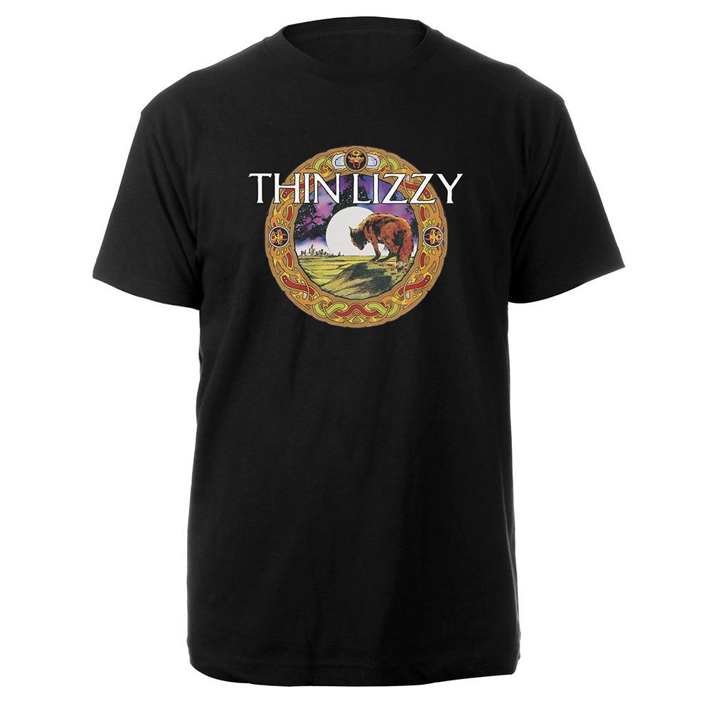 Johnny Fox Black Mens T-shirt-Thin Lizzy