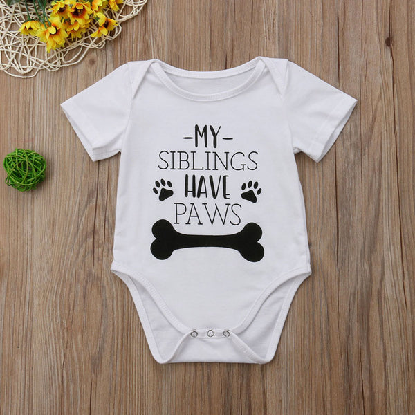 'My Siblings Have Paws' Unisex  Baby Onesie