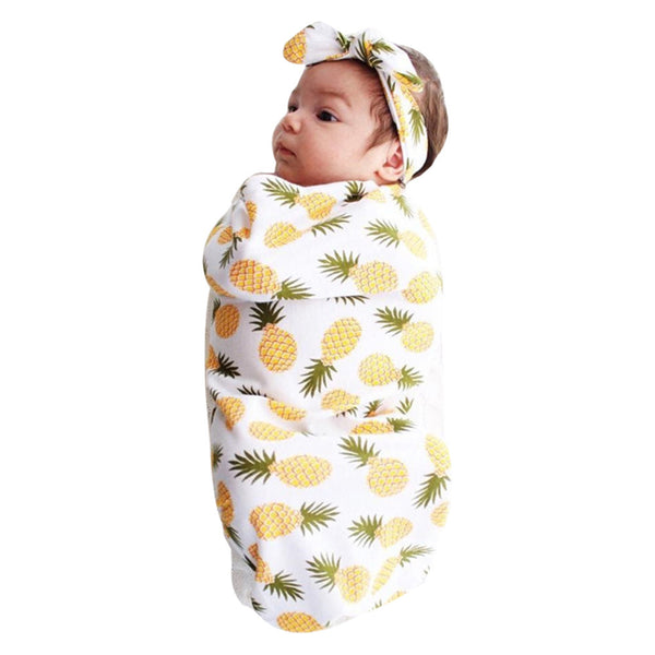 Baby Girl Printed Swaddle and Headband Set