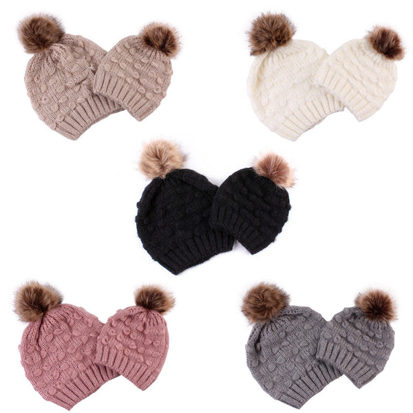 Mommy and Me Pom Pom Beanie Set