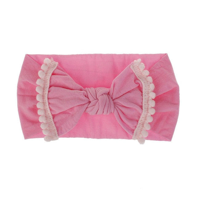 Baby Girl Big Pom Pom Trim Bow Headband