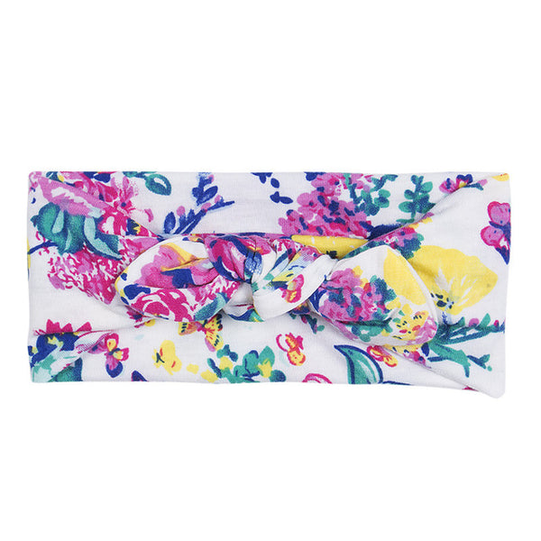 Soft Floral Girls Bow Headband