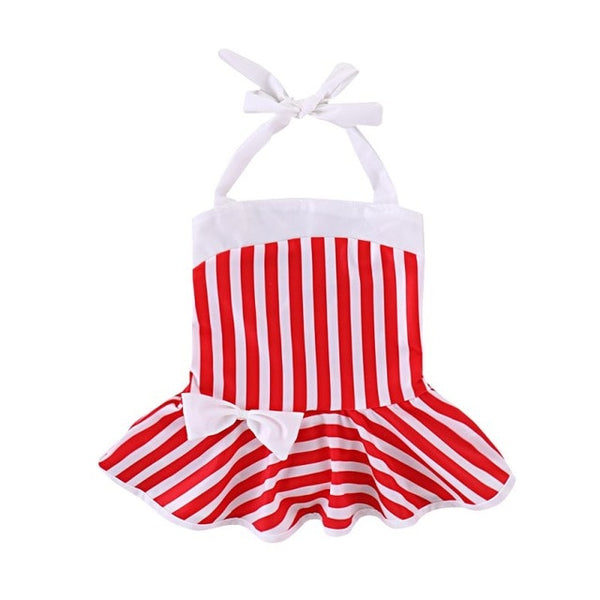Red Striped One Piece Bathing Suit