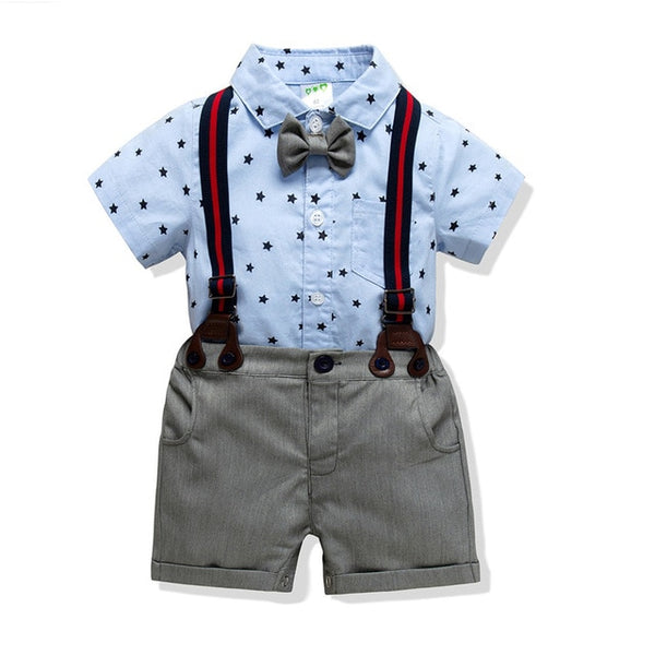 Star Button Up Suspenders and Shorts Set