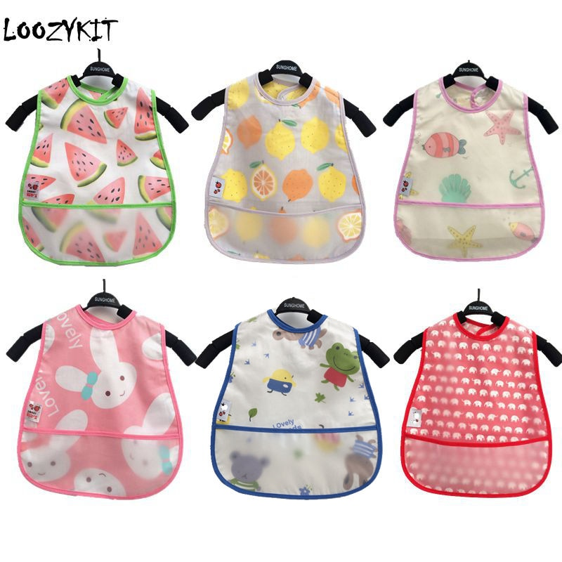 Cotton Bib with Plastic Pouch