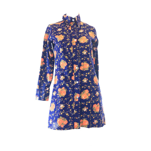 Vintage Fashion Wagon  Floral Shirt Dress