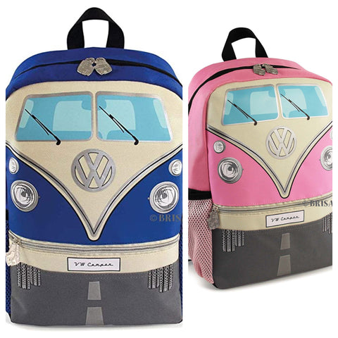 Official VW T1 Camper Van Kids School Backpack Pink Blue