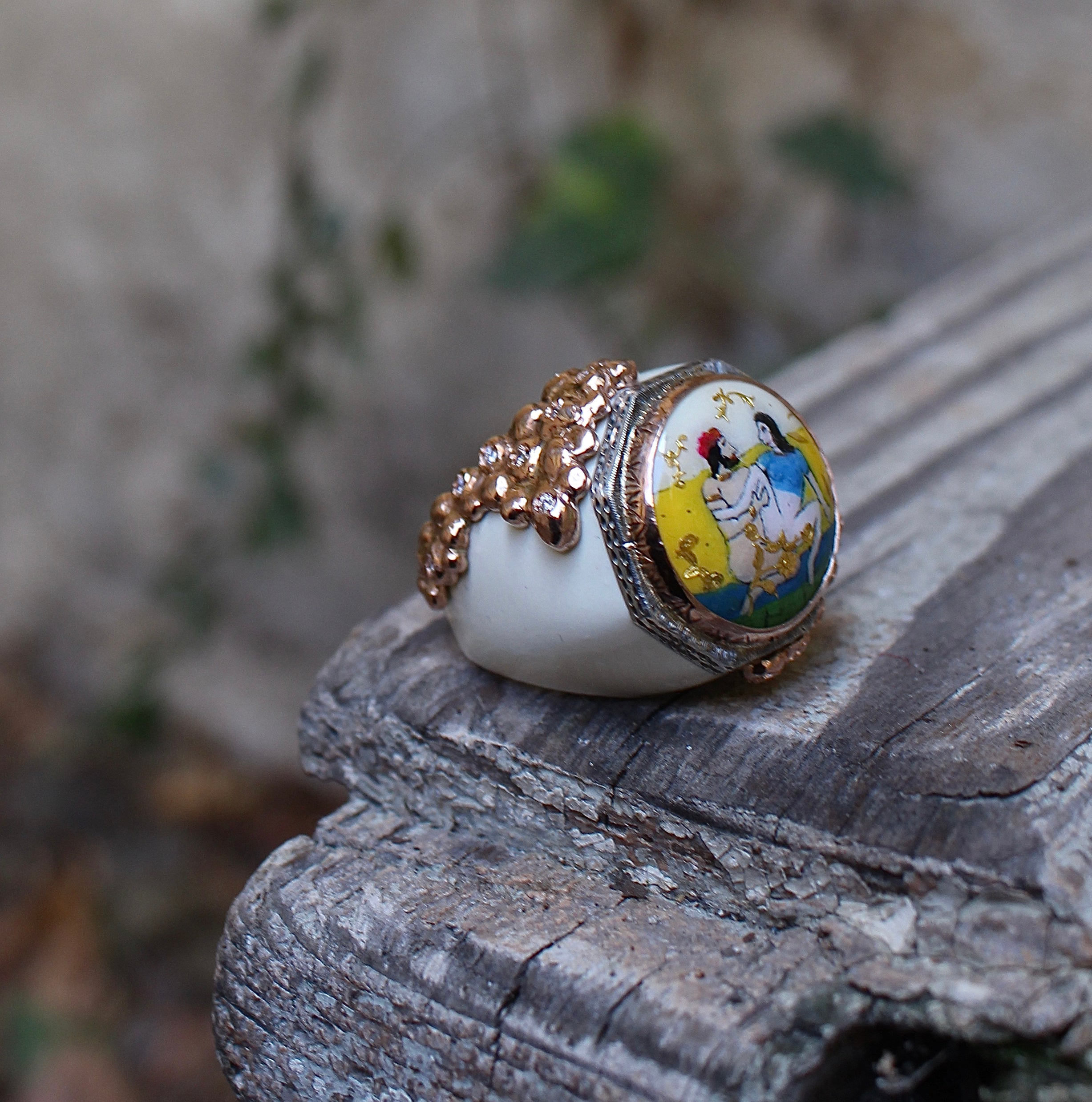 Ring with erotic scene