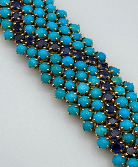 Bracelet turquoise and sapphires