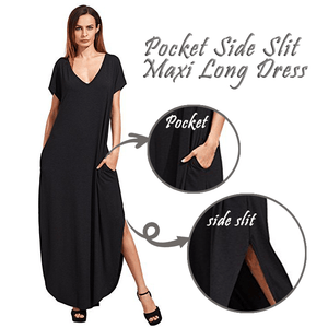 Pocket Side Slit Maxi Long Dress