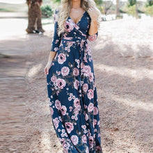 Load image into Gallery viewer, Sexy V-neck Floral Ties Maxi Dress