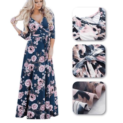 Sexy V-neck Floral Ties Maxi Dress