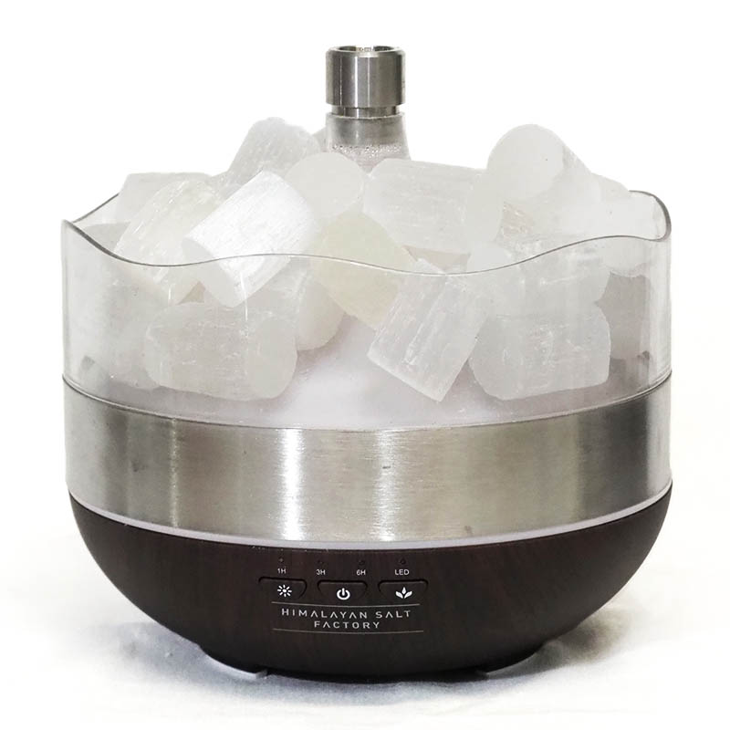 Treasurers Selenite Diffuser Humidifier | Cylindrical Stones | HIMALAYAN SALT FACTORY
