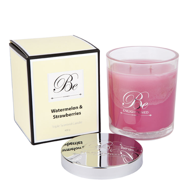 Watermelon & Strawberries | Elegant Candle 400g | BE ENLIGHTENED