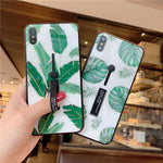 Green Leaf Tempered Glass Case For iPhone