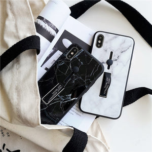 Marble Tempered Glass Case For iPhone