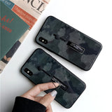 Dark Camouflage Tempered Glass Case For iPhone