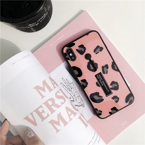 Leopard Print Tempered Glass Case For iPhone