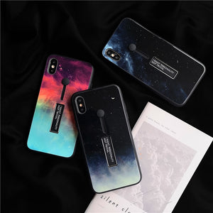 Colorful Space Tempered Glass Case For iPhone