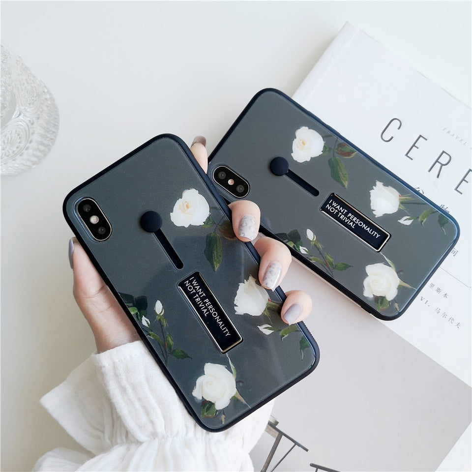 White Roses Tempered Glass Case For iPhone