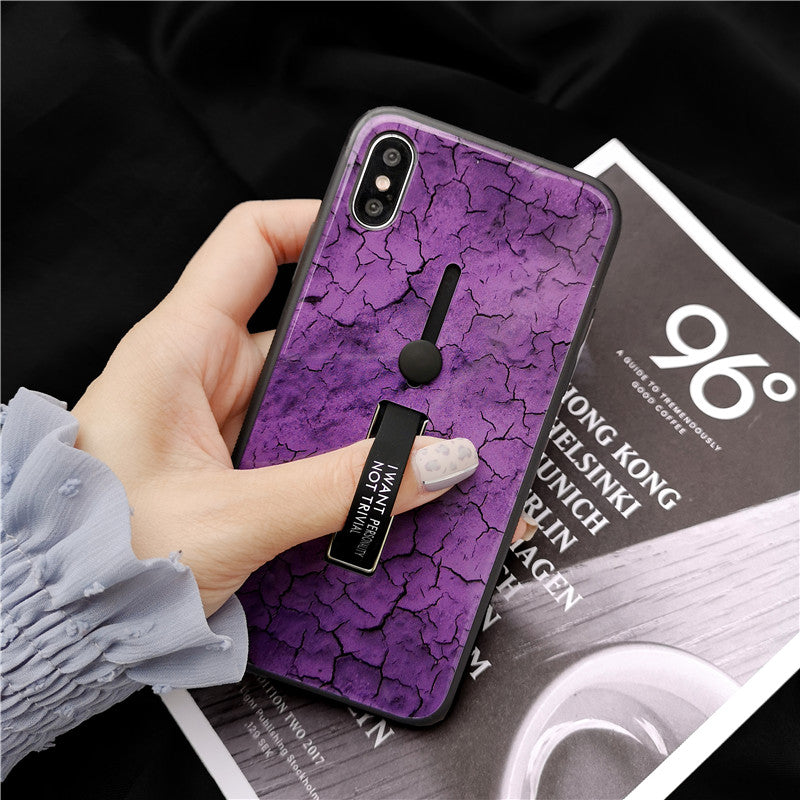 Cracked Pattern Tempered Glass Case For iPhone