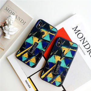 Abstract Triangle Tempered Glass Case For iPhone