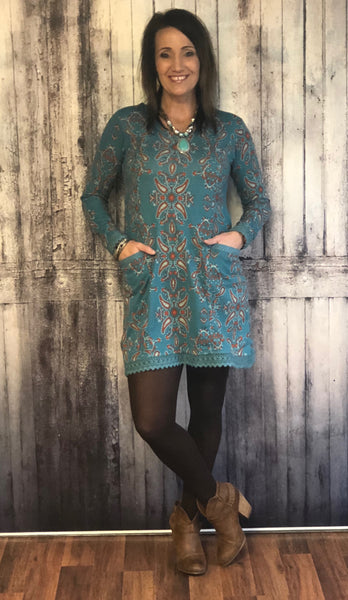 Paisley Print Turquoise Sweater Dress