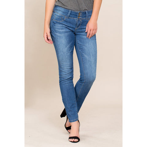 WOMEN 3-BUTTON BASIC SKINNY JEAN