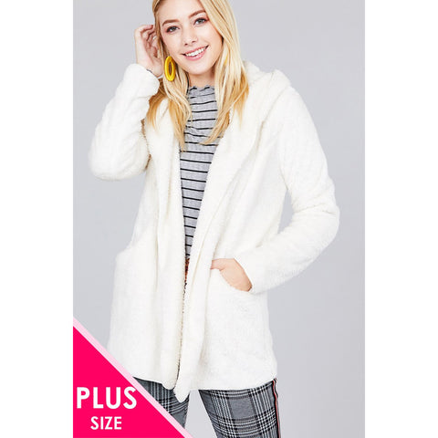 Long sleeve open front faux fur jacket