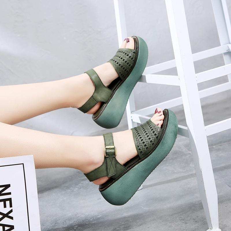 Handmade Platform Sandals Genuine Leather Hollow Sandals