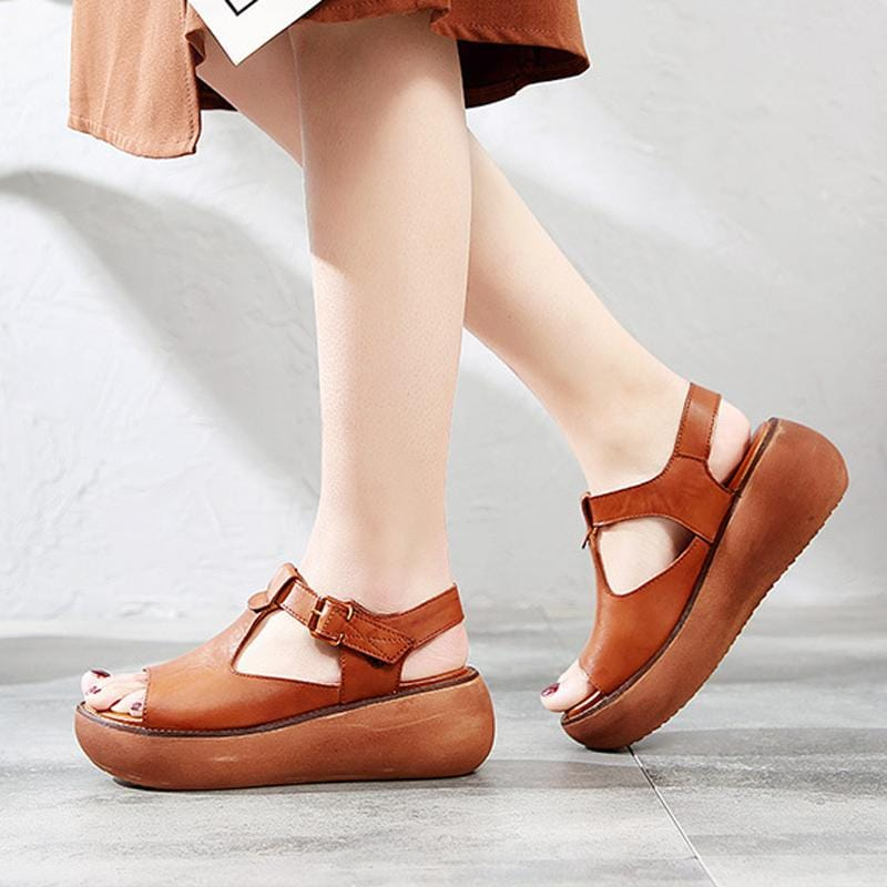 Genuine Leather Handmade Platform Sandals