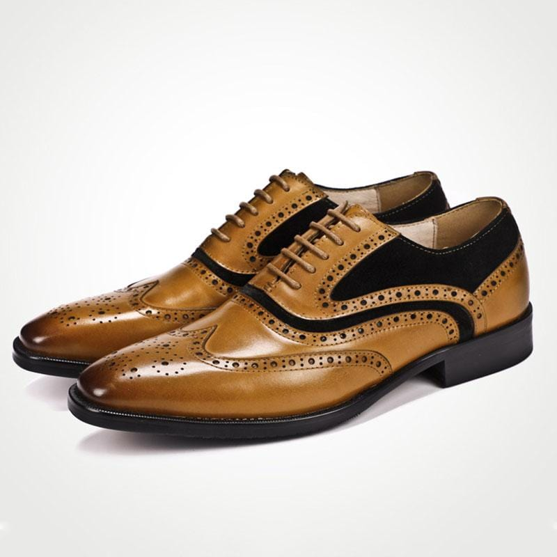 Color Matching Leather Shoes Handmade Derby Shoes