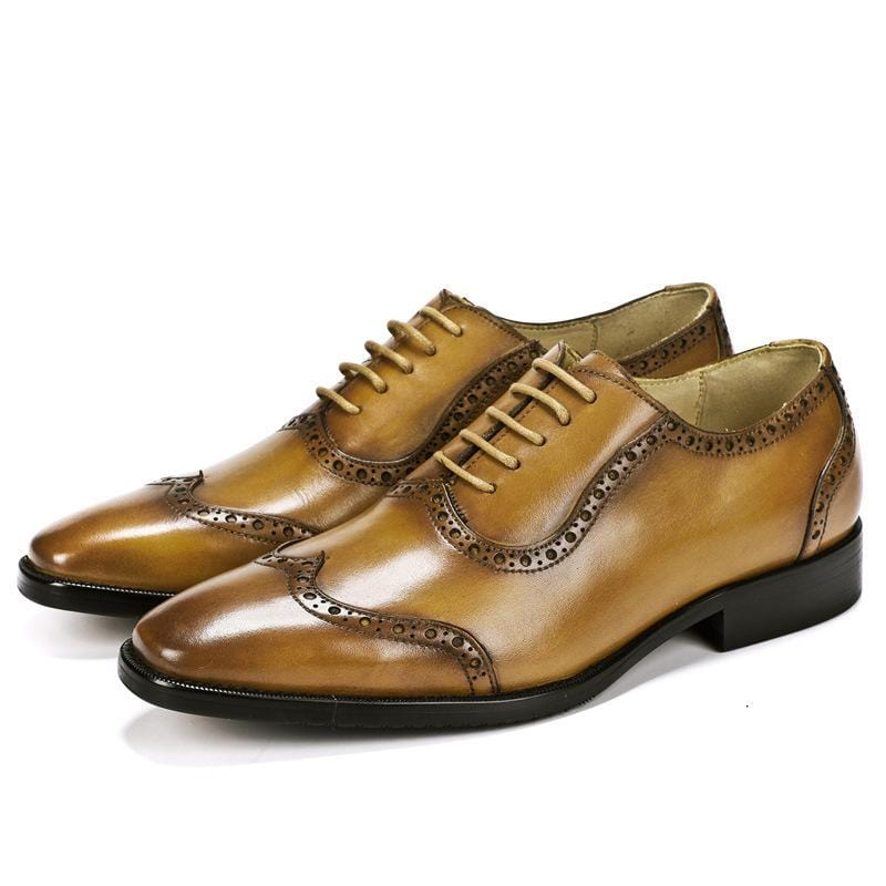 Leather Dress Shoes Handmade Carved Men's Shoes