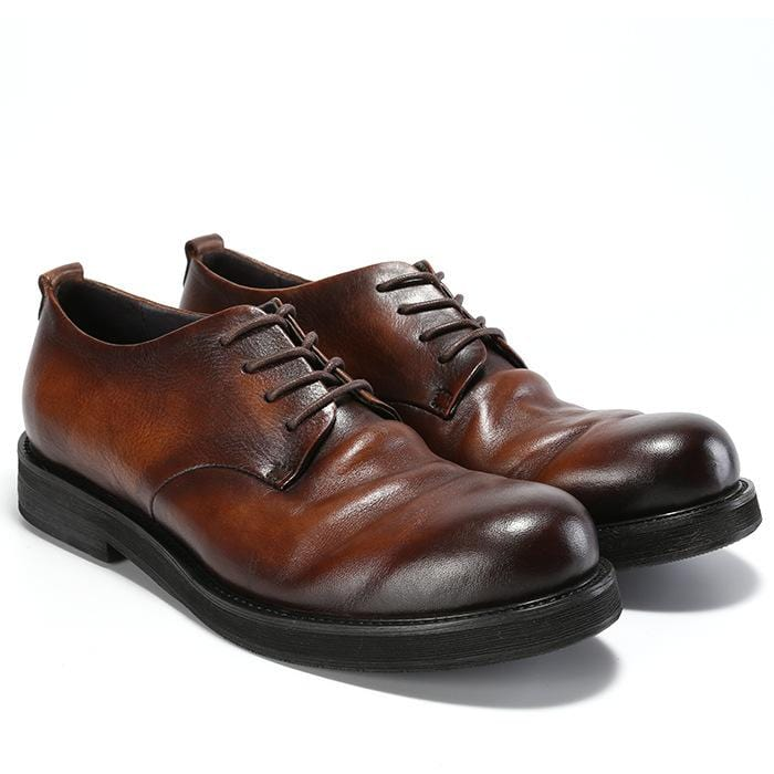 Retro Style Round Toe Leather Shoes Men's Shoes