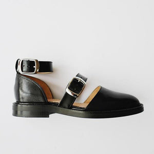 Women Handmade Buckle Leather Flat Shoes