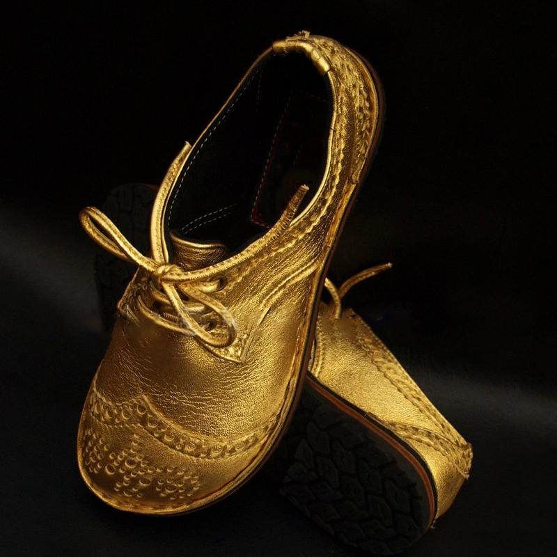 Handmade Vintage Color Matching Lace Brock Women's Shoes Soft Leather