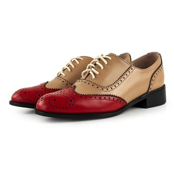 Handmade Women Brogue Shoes Color Matching Derby Shoes