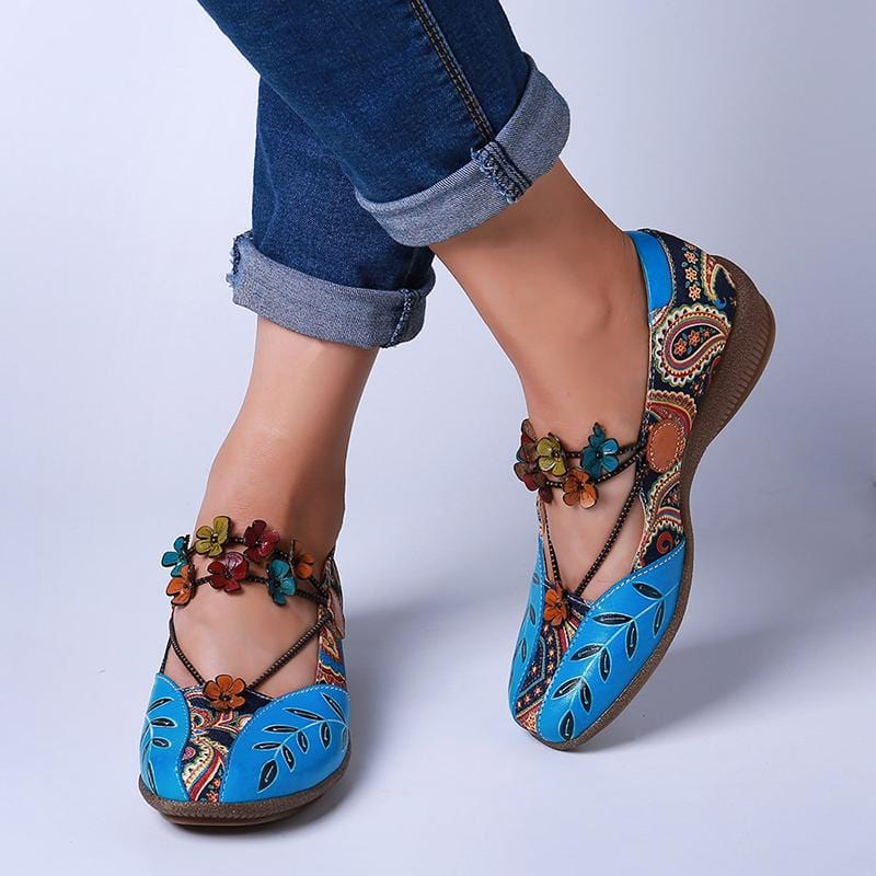 Women Retro Floral Printed Soft Low Heel Shoes