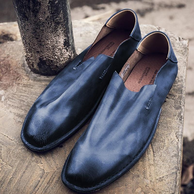 Handmade Soft Leather Loafers Slip-on Lazy Shoes