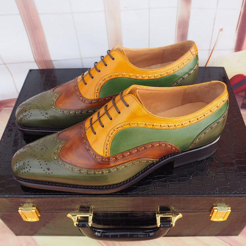 Handmade Hand Painted Men's Brogue Shoes Leather Shoes