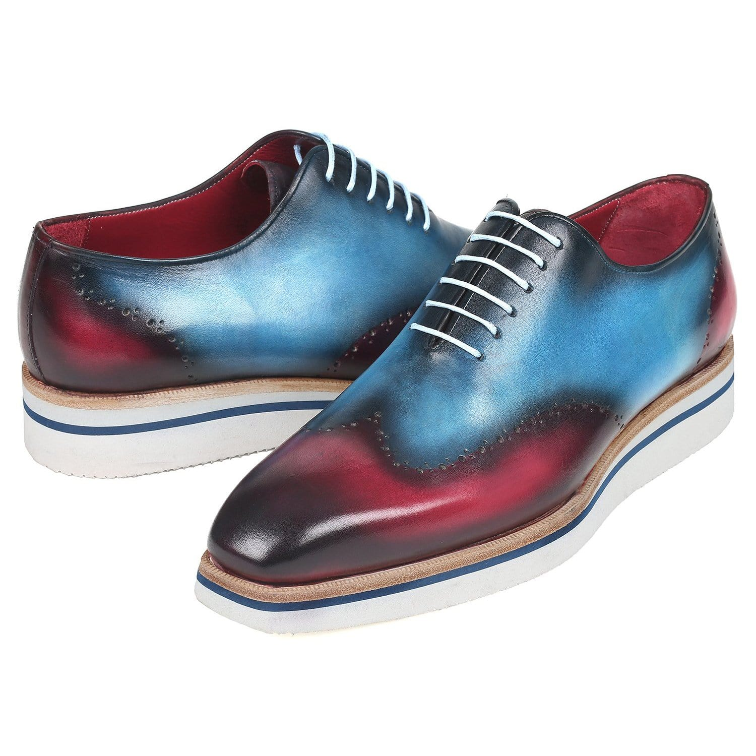 Gradient Color Leather Sneakers Hand Deying Shoes Soft Sole Comfy Leather