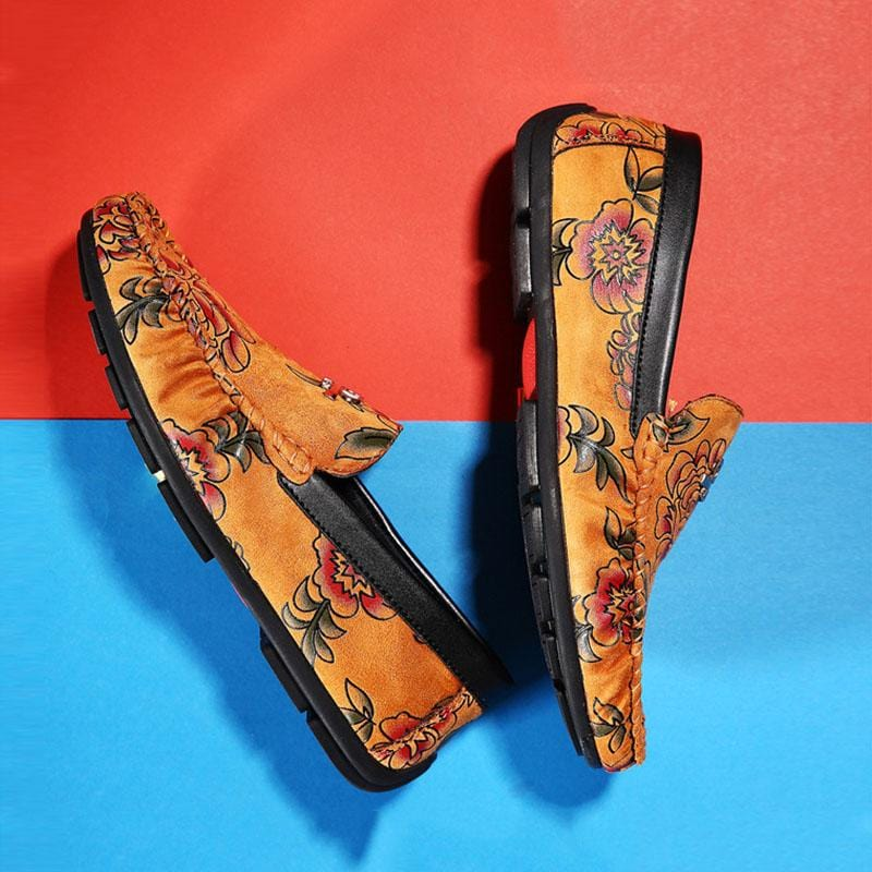 Fashion Floral Pattern Men's Loafers