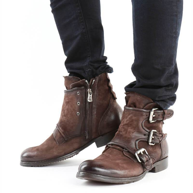 Men Buckle Zipper Suede Leather Boots - mwsshoe