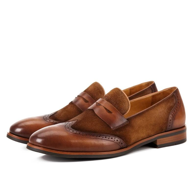 Bullock leather Men's Loafers Color Matching Shoes