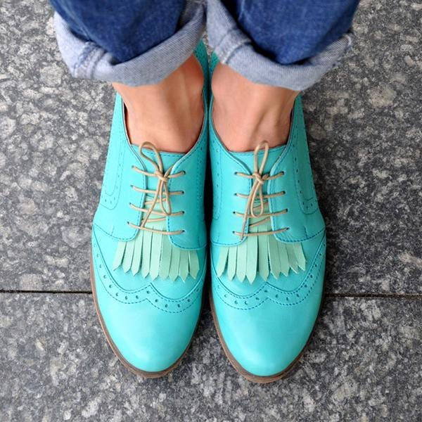 Women Vinatge Leather Soft Green Brogue Shoes