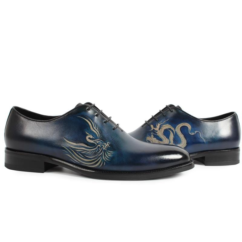 Phoenix Totem Dragon Totem Leather Shoes Men's Dress Shoes Specially Designed Made