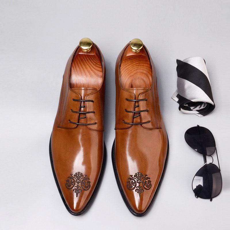 Leather Shoes Dress Shoes Carved Toe Cap