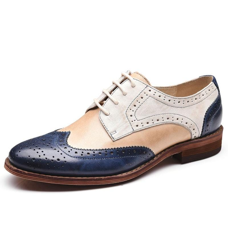 Genuine Leather Women Derby Shoes Colorblock